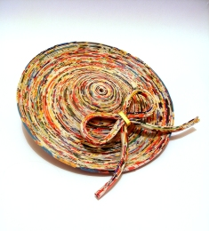 Hundertwasser inspired coiled junkmail Schoolgirl style hat with 23 carat gold highlights, 2016