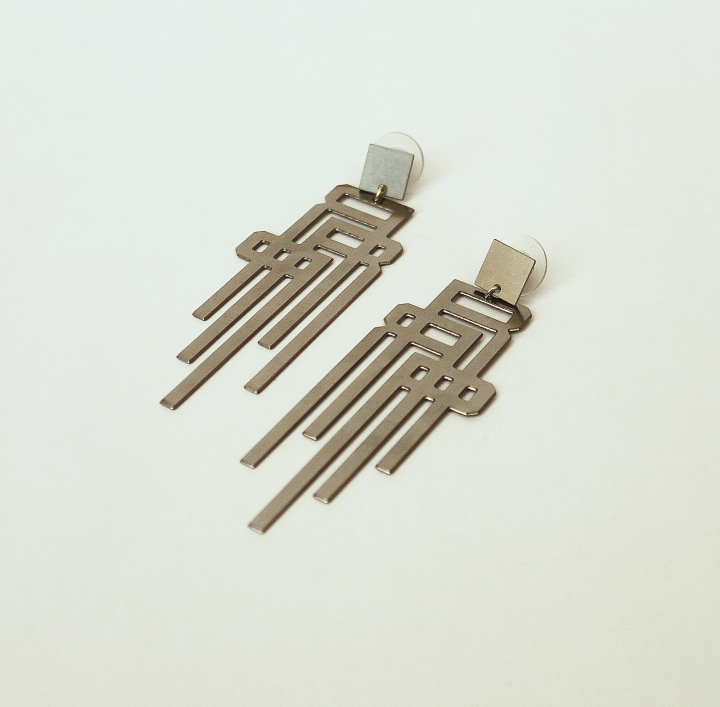 Stainless Steel Logo Earring
