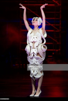 WELLINGTON, NEW ZEALAND - SEPTEMBER 25: Undulata, by R. R. Pascoe of Australia, is modelled in the Avant-garde Section during the World of WearableArt Preview 2019 at TSB Bank Arena on September 25, 2019 in Wellington, New Zealand. (Photo by Hagen Hopkins/Getty Images for World of WearableArt)