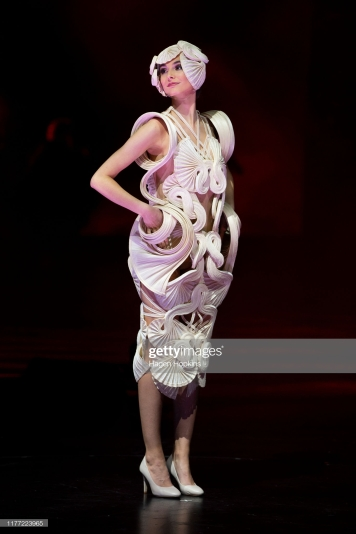 WELLINGTON, NEW ZEALAND - SEPTEMBER 26: Undulata, by R. R. Pascoe of Australia, is modelled in the Avant-garde Section during the World of WearableArt Opening Night 2019 at TSB Bank Arena on September 26, 2019 in Wellington, New Zealand. (Photo by Hagen Hopkins/Getty Images for World of WearableArt )
