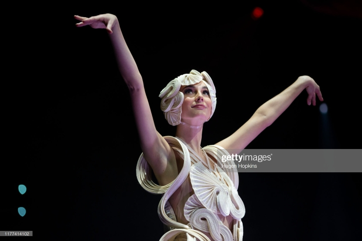 WELLINGTON, NEW ZEALAND - SEPTEMBER 27: Undulata, by R. R. Pascoe of Australia, is modelled in the Avant-garde Section during the World of WearableArt Awards 2019 at TSB Bank Arena on September 27, 2019 in Wellington, New Zealand. (Photo by Hagen Hopkins/Getty Images for World of WearableArt)